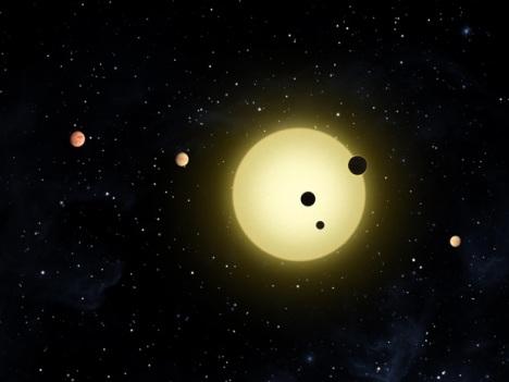 Representação divulgada pela Nasa de Kepler 11 e seus seis planetas. (Crédito: Tim Pyle / Nasa)