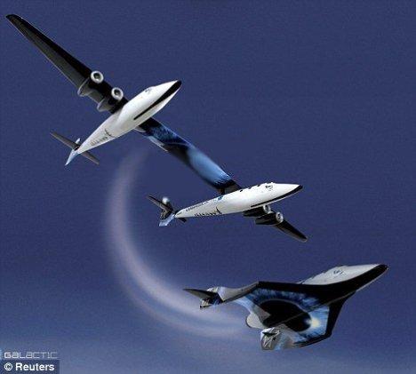 Concepção artística retratando o lançamento da SpaceShipTwo
